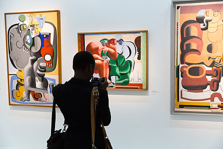 A person studies the art in an art gallery in Paris, France. Image captured with a Canon 6D