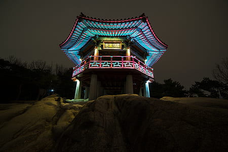 blue lighted temple on rocky mountain taken during night time