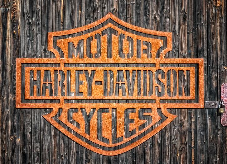 shallow focus of brown Motor Harley-Davidson cycles logo
