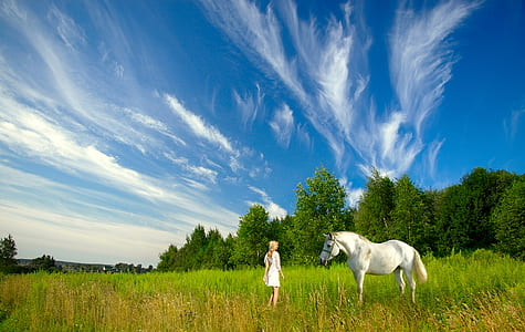 white horse and woman in field