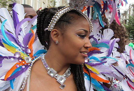 woman wearing assorted-color feathered costume
