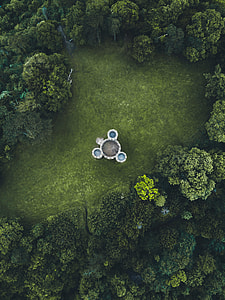 Arial view of garden with foutain