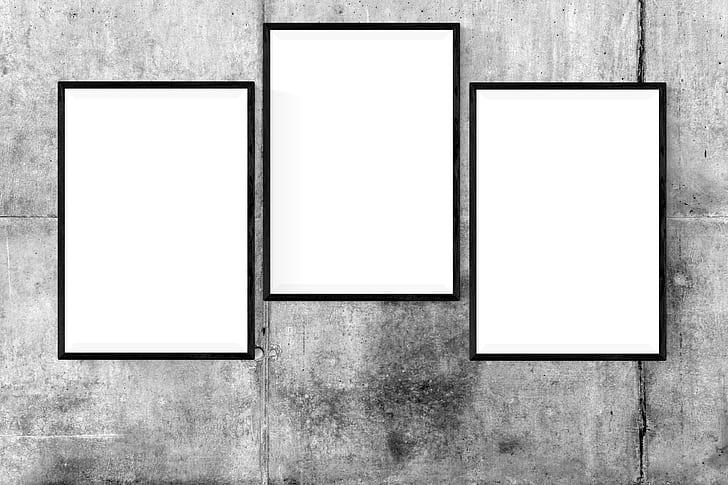 Royalty-Free photo: Three rectangular white frames | PickPik