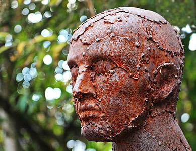 selective focus photograph of metal man bust