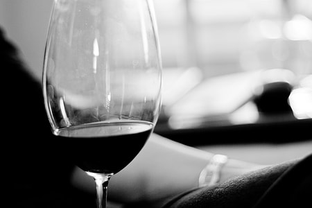 grayscale, photo, clear, long, stem, wine glass