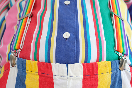 blue, green, white, red stripes button-up top with bottoms set close-up photo