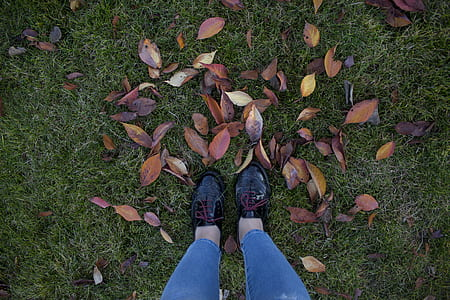 Person in Patent Black Low-top Shoes Standing Above Green Grass