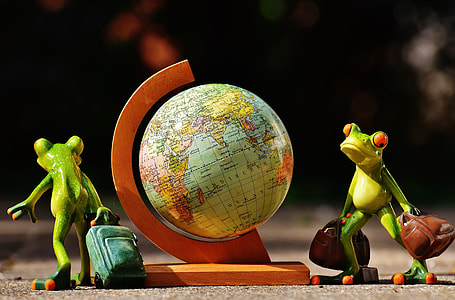 two green frogs holding luggage bags table figure