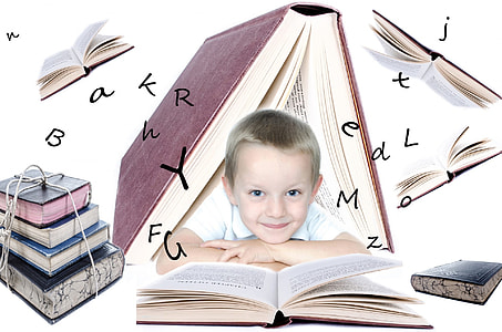 boy in white shirt with books