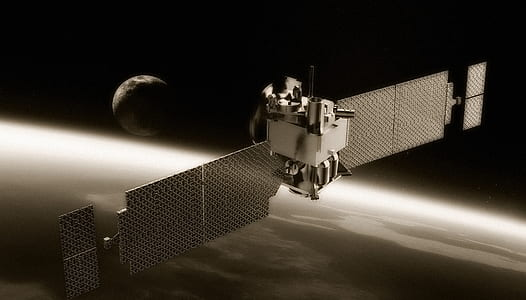 silver metal space satellite