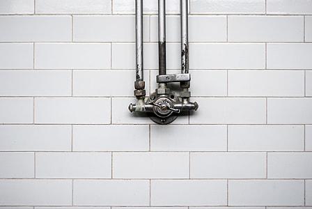 gray and black metal valve decor