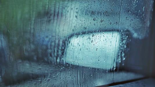 glass car window with dew