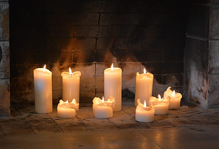 white pillar candles