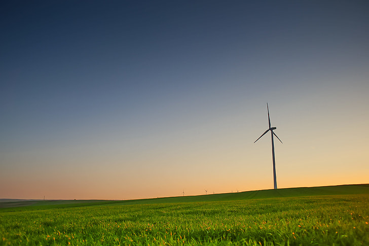 Evening Scenery with a Windmill