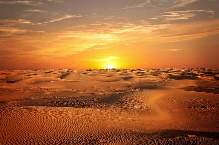 sunset, Desert, landscape, sand, sky, sun