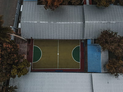 aerial photo of basketball court