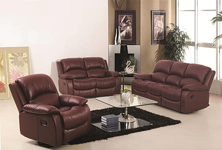 brown leather sectional couch on white flooring