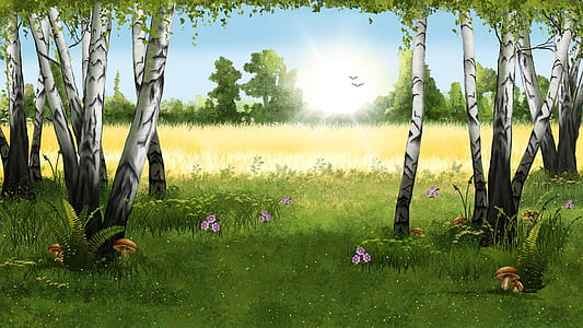 green grass painting