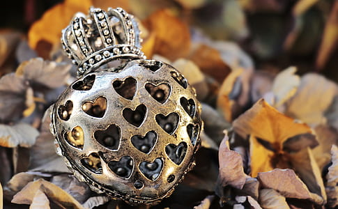 silver-colored encrusted heart and crown pendant selective focus photography