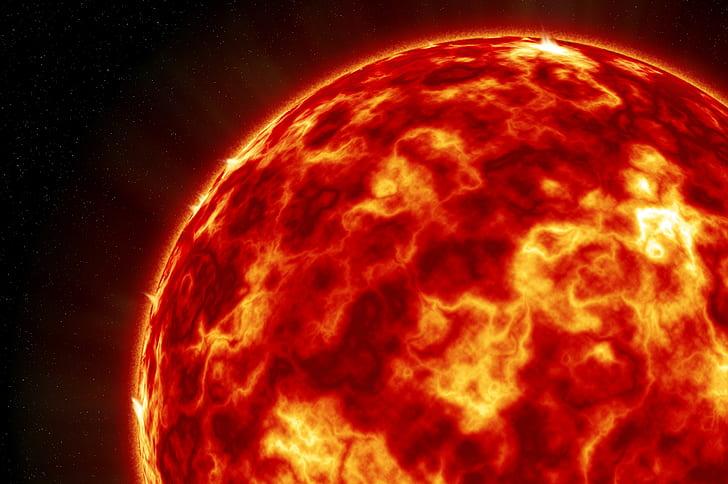 red and orange sun illustration