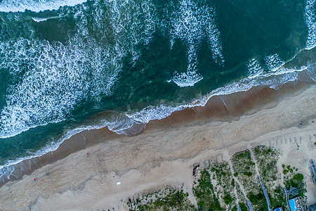 aerial shot of beach during day time