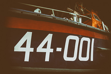 Wide angle shot on an old lifeboat, image captured at Chatham dockyard in Kent, England