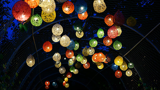 assorted-color wicker lanterns