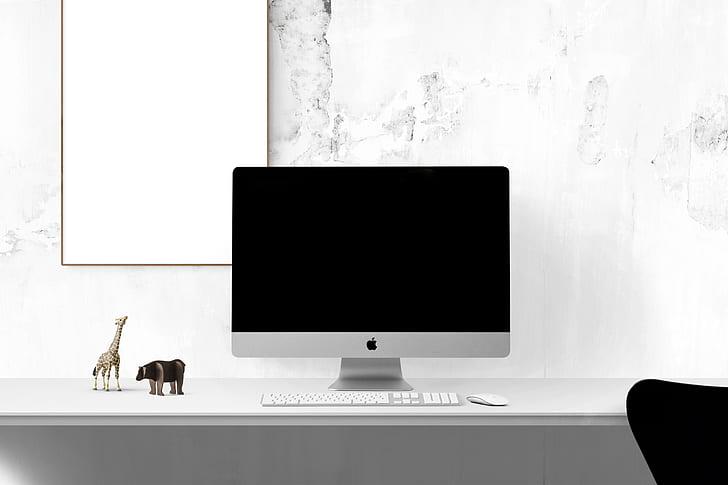Royalty-Free photo: Silver iMac on table | PickPik