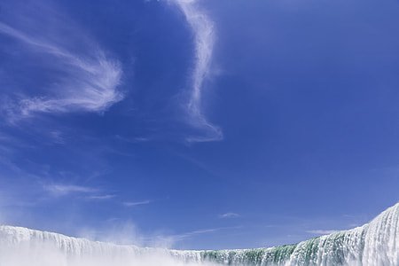 photo of falls under gray clouds with purple sky