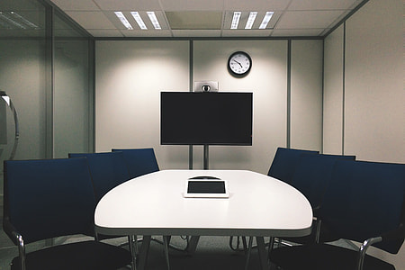 Office meeting and presentation room with television
