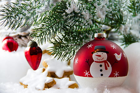 white and red snowman print bauble