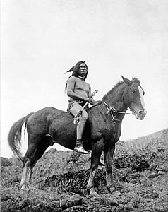 grayscale photo of native american