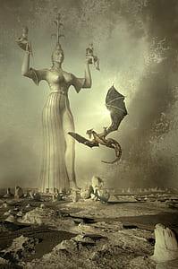dragon flying near statue illustration