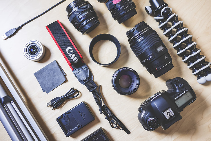Royalty-Free photo: The Photographer's DSLR Camera Equipment | PickPik