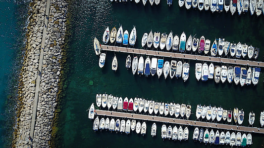 bird's-eye view of yachts in dock