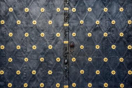 black and gold floral door