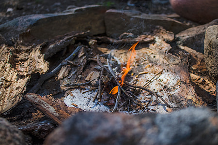 campfire, flame, twigs, firewood