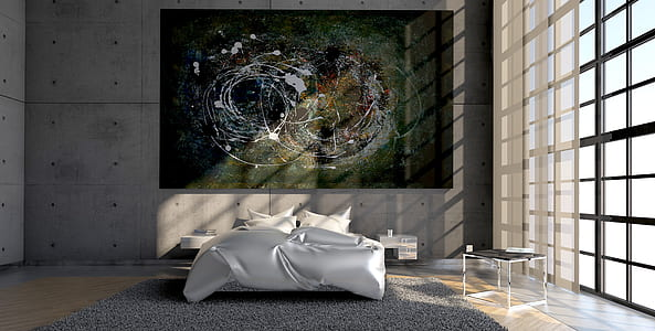 multi-colored abstract painting mounted on gray wall