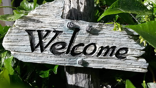 white wooden Welcome wooden signage