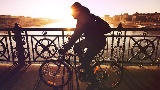 silhouette photo of person riding on bicycle
