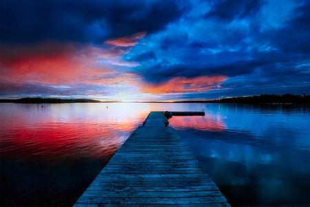 lake dock panorama photography
