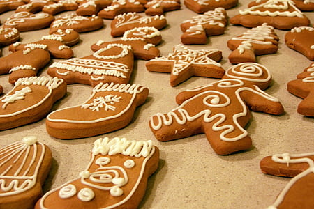 cookies, gingerbread, shapes, star, snowman, stocking