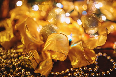 yellow christmas ribbons
