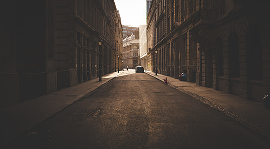 sepia photography of street in the middle of high-raise two buildings
