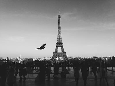 grayscale photo of crowd of people near Eiffel tower