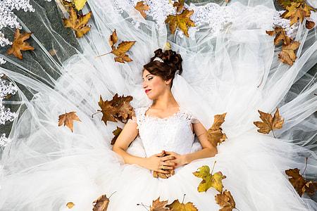 Overhead shot of bride and wedding dress