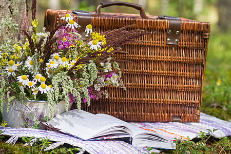 brown woven picnic basket beside book
