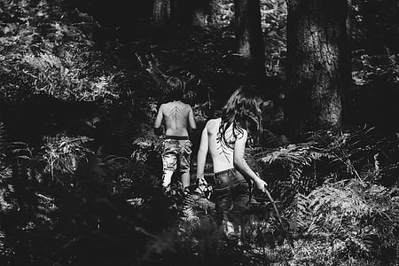 greyscale, picture, two women, woods, child, girl