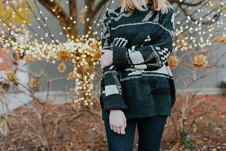 women's black, gray, and black sweater