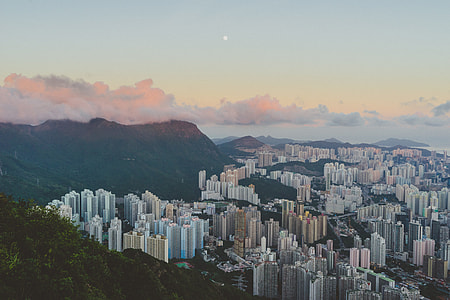 aerial photography of city near mountain